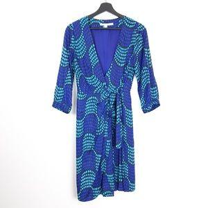 Biden Blue Aqua Polka Dot Wrap Dress 8